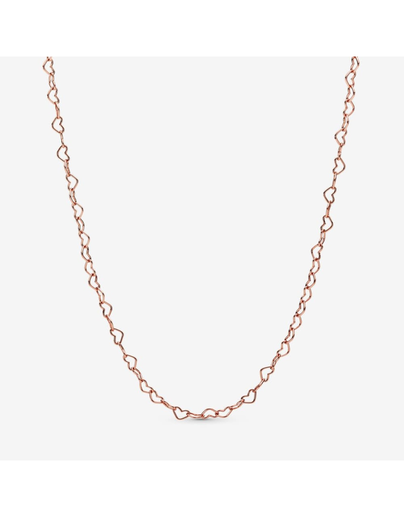 Pandora Pandora Joined Hearts Necklace In Rose Gold, 60 cm And Adjustable To 55 cm nd 50 cm 60 cm
