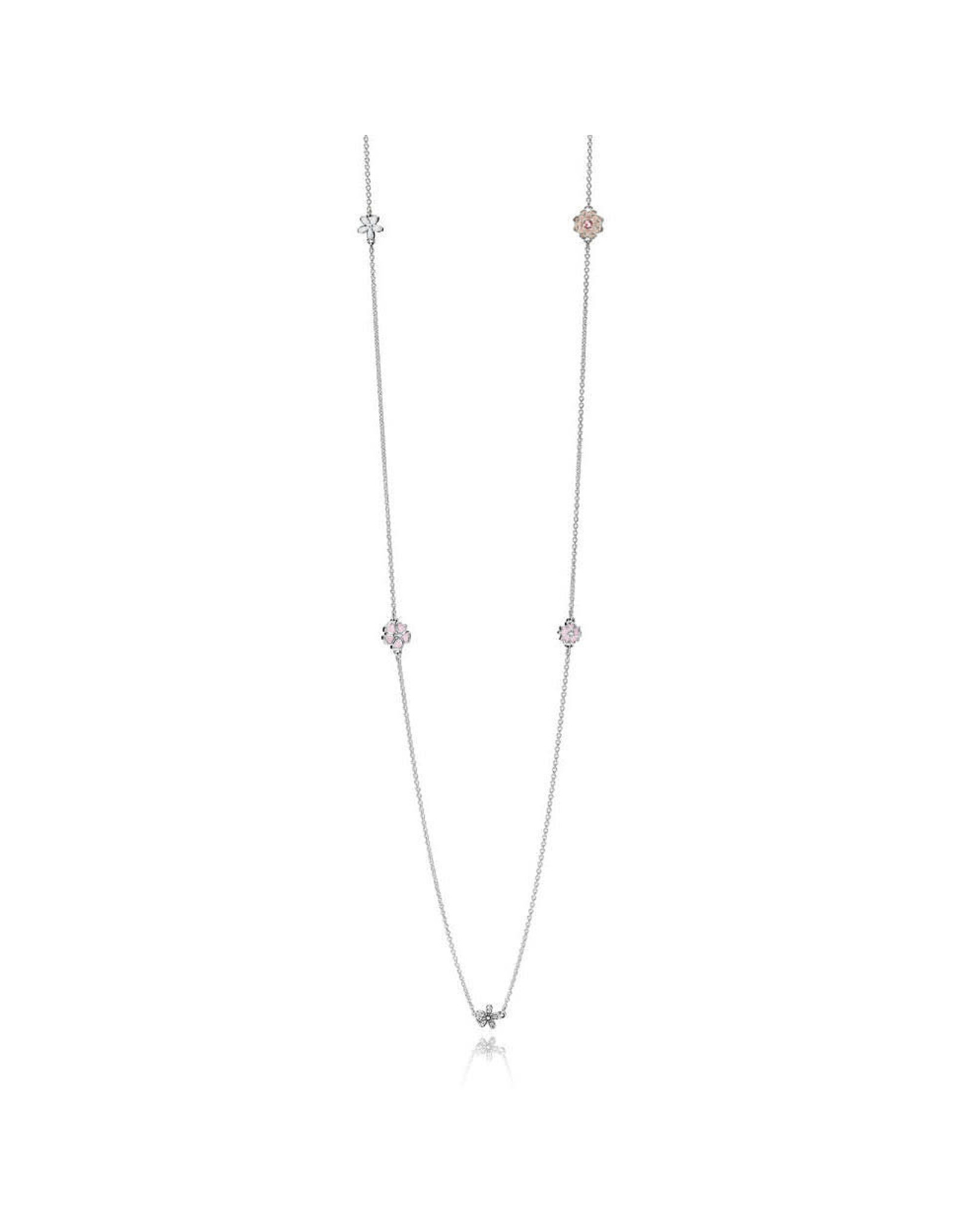 Pandora Pandora Necklace Poetic Blooms With Light Pink, Soft Pink, Cream, and White Enamel, Clear CZ And Blush Pink Crystal 80 cm