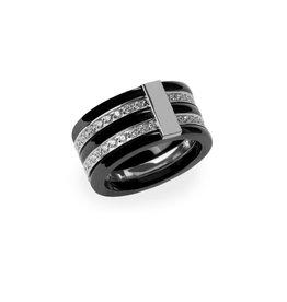 Mia Ring Diamonds Silver And Black