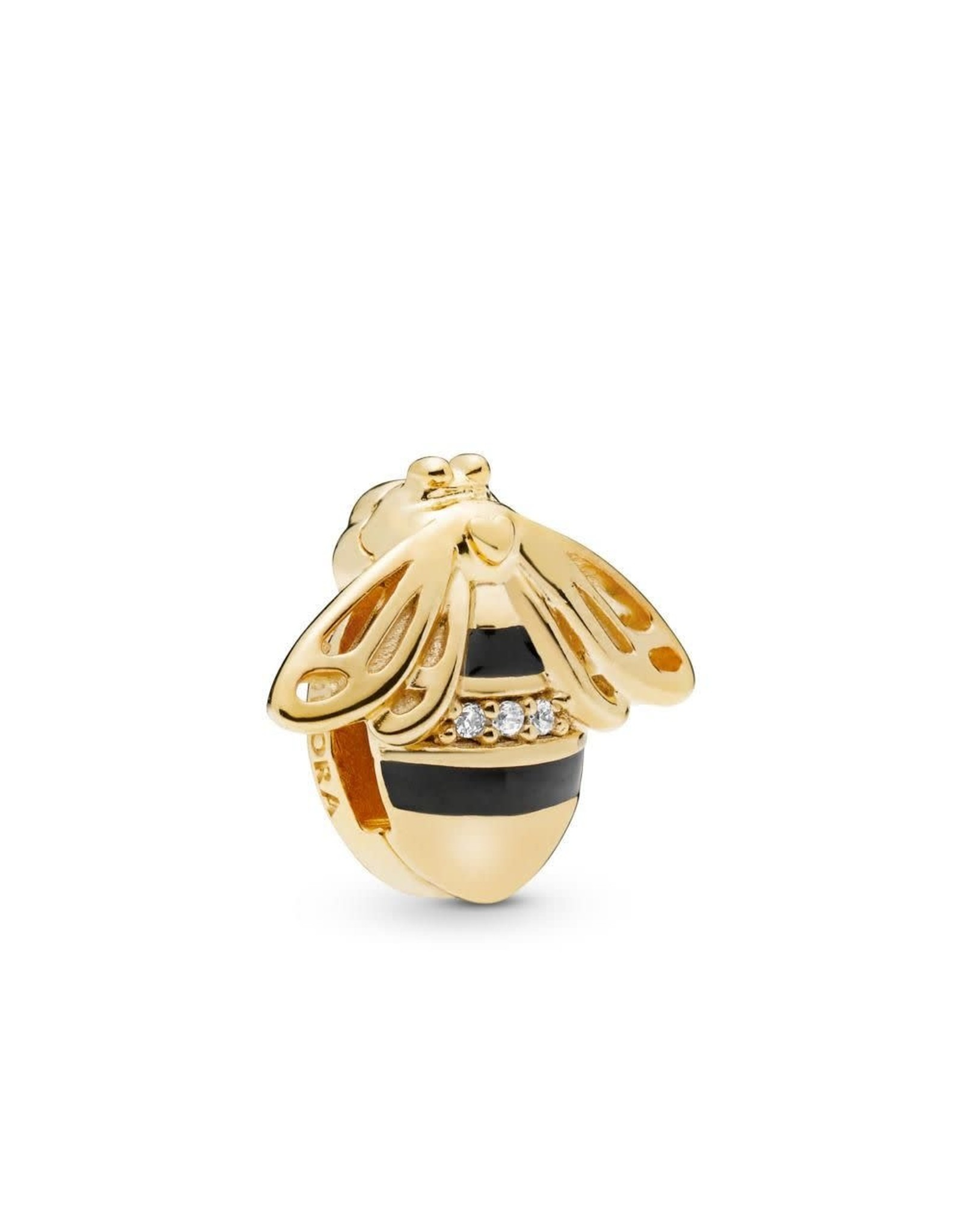 Pandora Pandora Reflexions Bee Clip Charm In Shine With 3 Bead-Set Clear CZ And Black Enamel