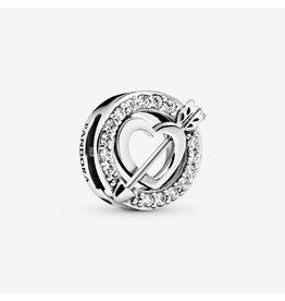 Pandora Pandora Reflexions Heart And Arrow Silver Clip Charm With Clear CZ