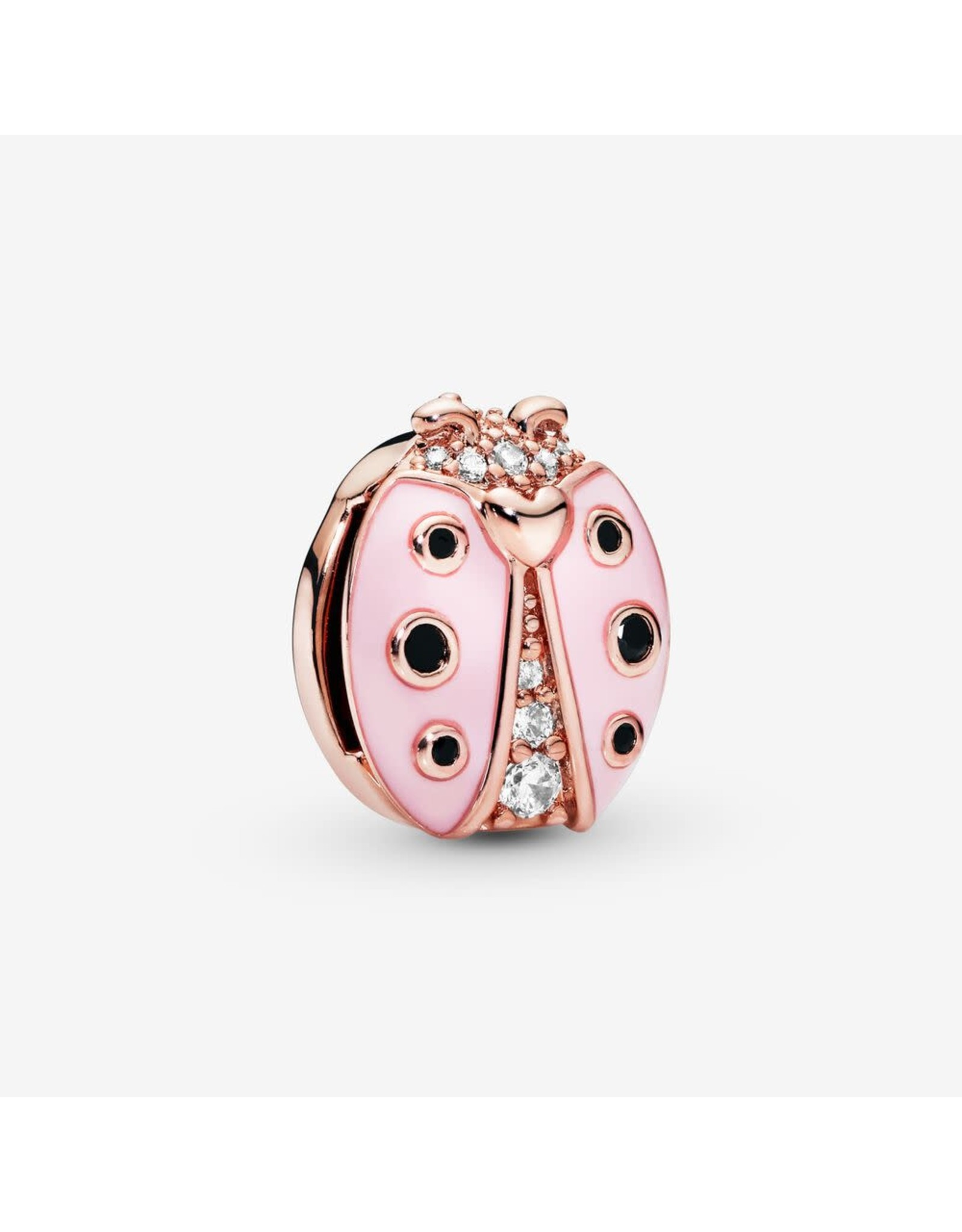 Pandora Pandora Reflexions Ladybird Clip Charm In Rose Gold With 2 Micro And 6 Bead-Set Clear CZ And 6 Bezel-Set Black Crystals And Transparent Pale Pink Enamel