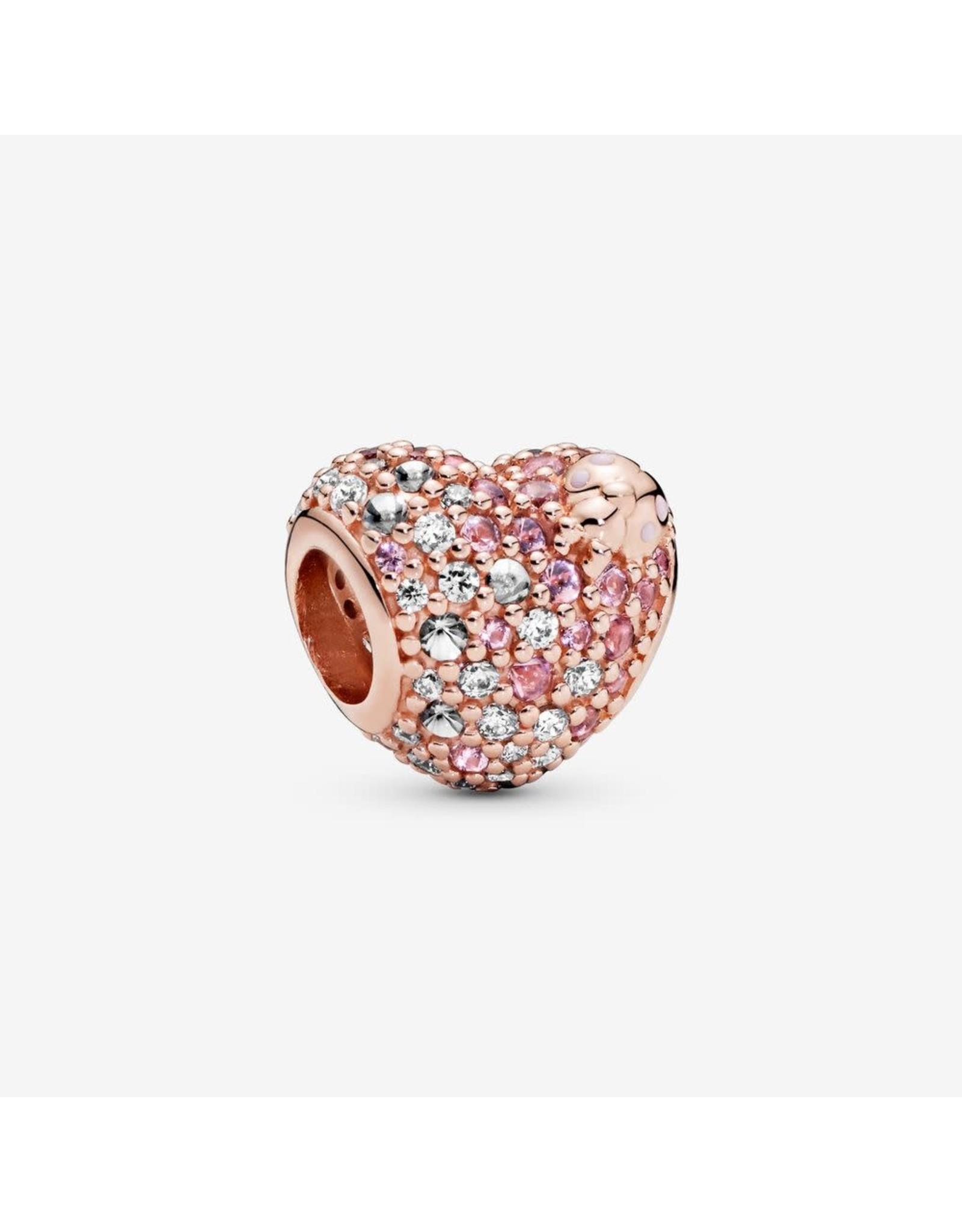 Pandora Pandora Gleaming Ladybird Heart, Pink Enamel, Crystals & Clear CZ