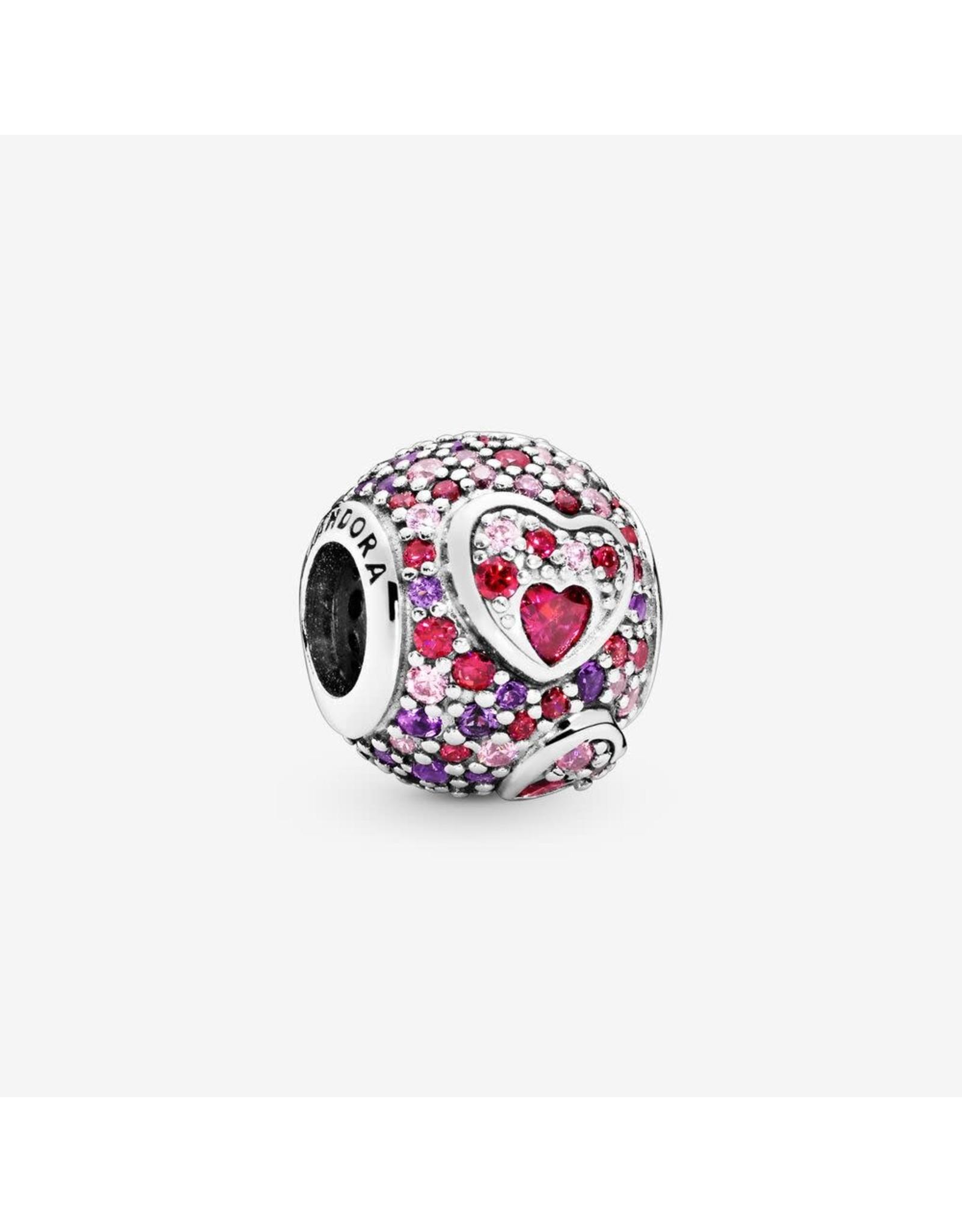 Pandora Pandora Charm Asymetric Hearts of Love, Red & Pink CZ, Royal Purple Crystals