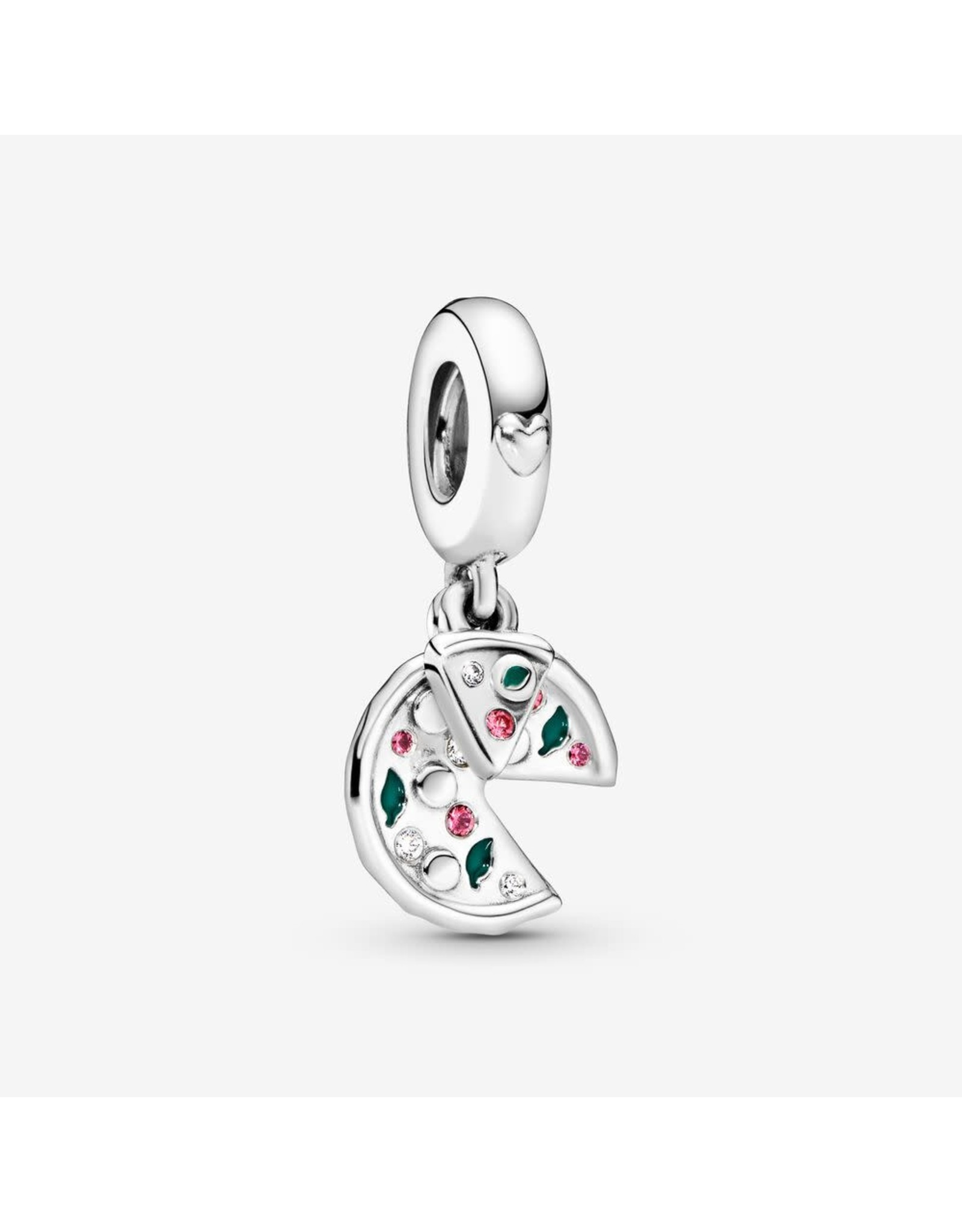 Pandora Pandora Passion For Pizza, Green Enamel, Red Crystal & Clear CZ