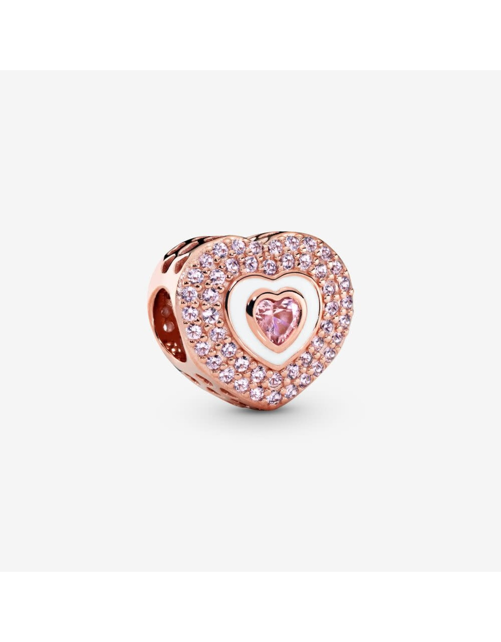 Pandora Pandora Heart Rose Gold With Rose Pink Crystal, Orchid Pink crystal And White Enamel