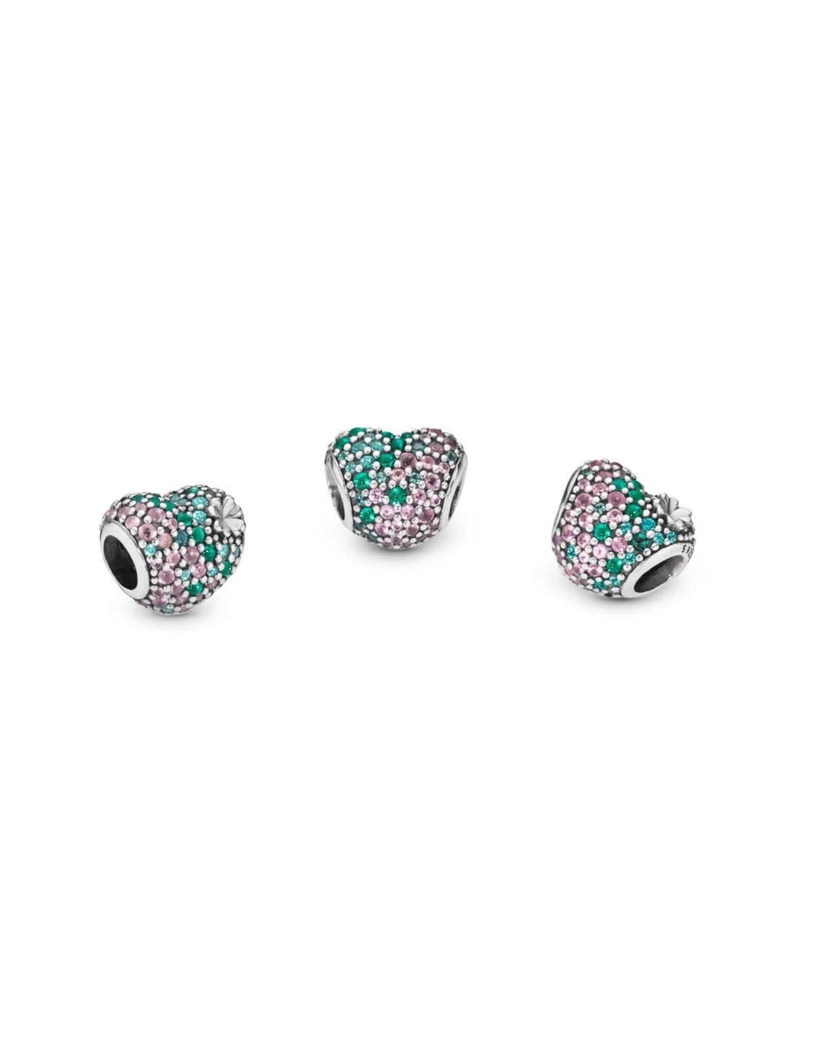 Pandora Pandora Gleaming Clover Heart, Green & Pink Crystals