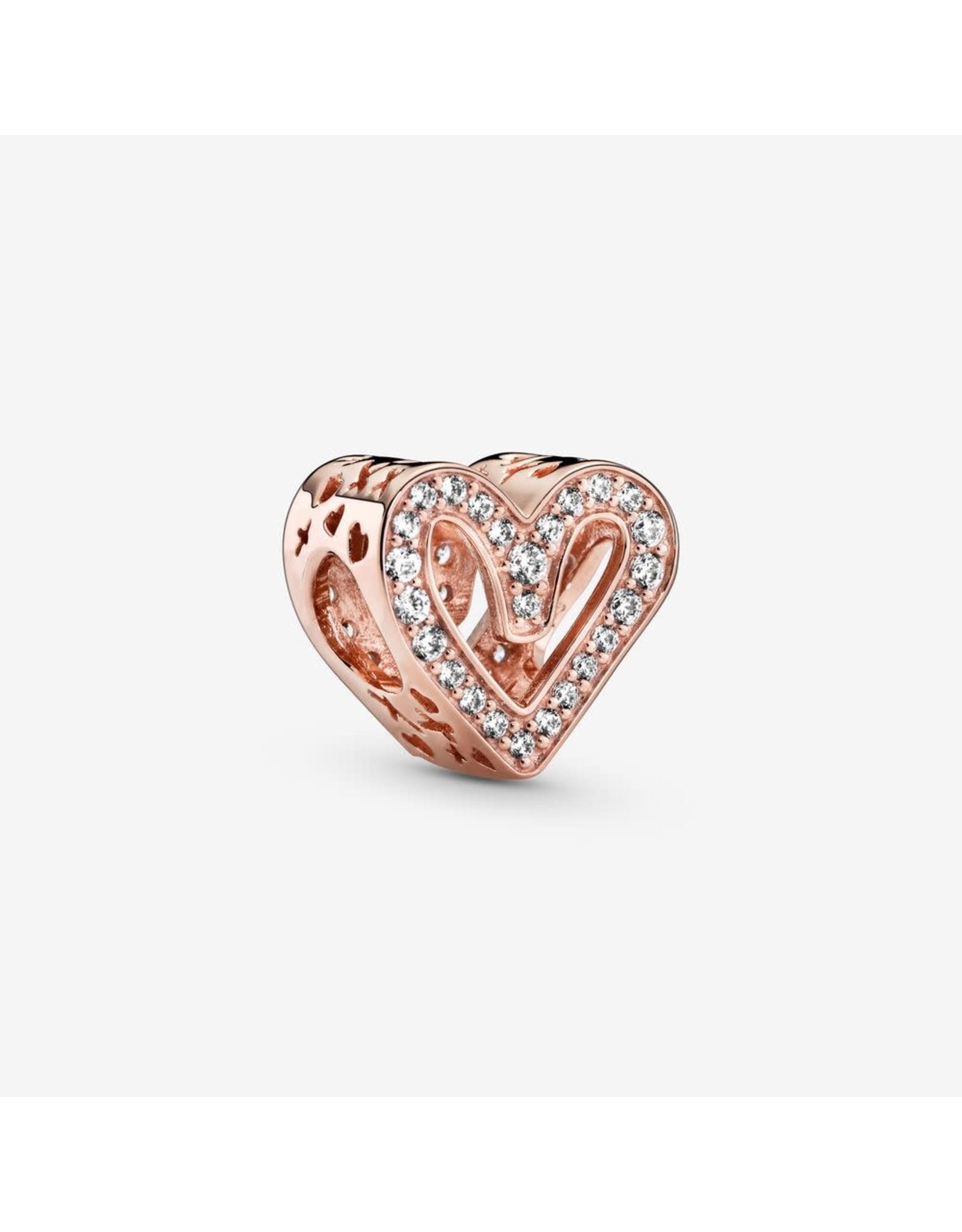 Pandora Pandora Rose Gold Sparkling Freehand Heart, Claer CZ