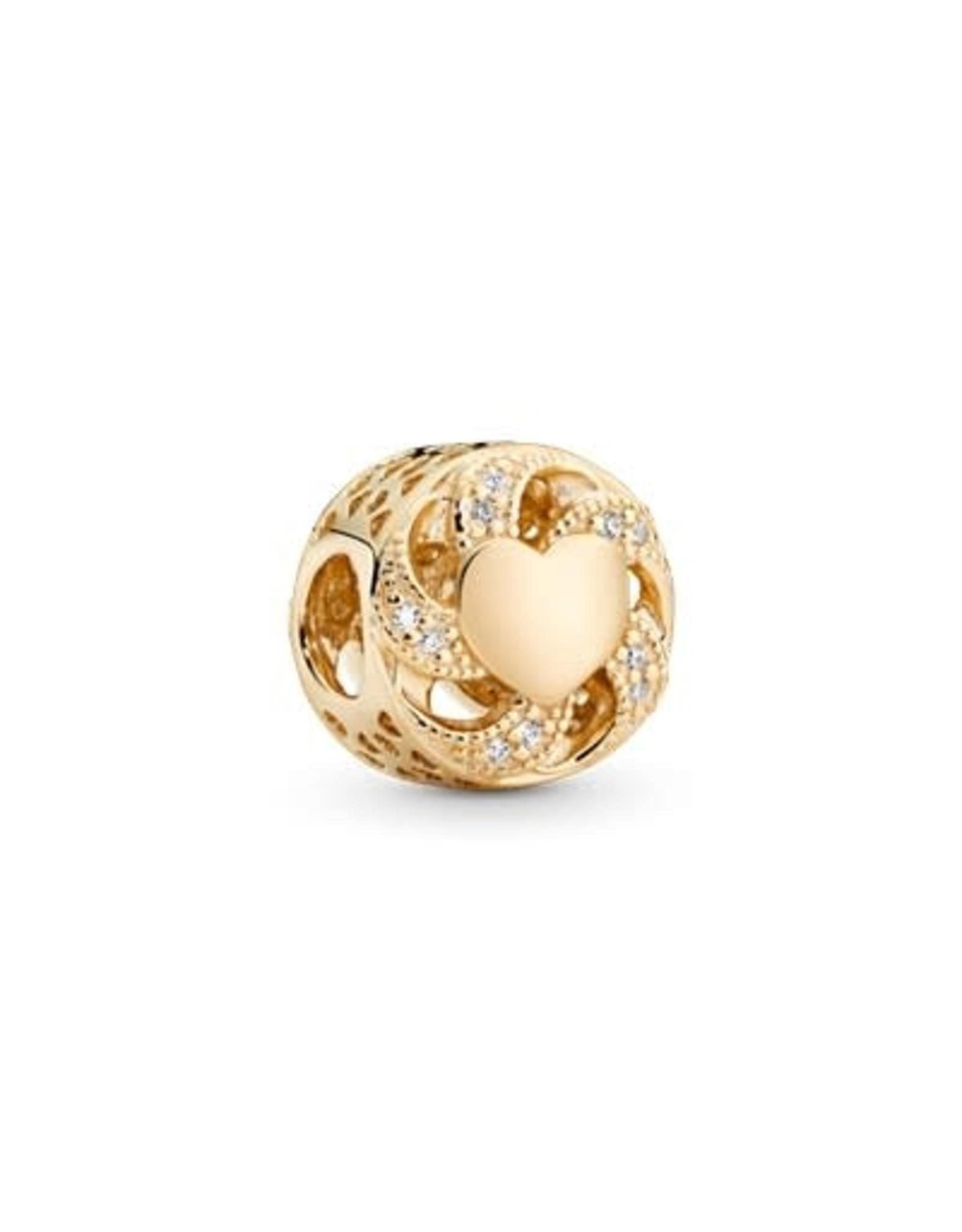 Pandora Pandora Charm, 14K Gold, Ribbon Heart, Clear CZ