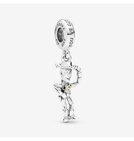 Pandora Pandora Charm, Disney Woody Silver, Black & Yellow Enamel