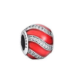 Pandora Pandora Charm Adornment, Translucent Red Enamel & Clear CZ