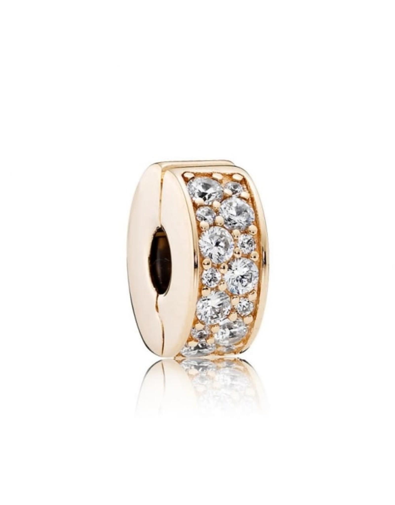 Pandora Pandora Clip Shining Elegance, 14K Gold with Clear, Silicone Grip