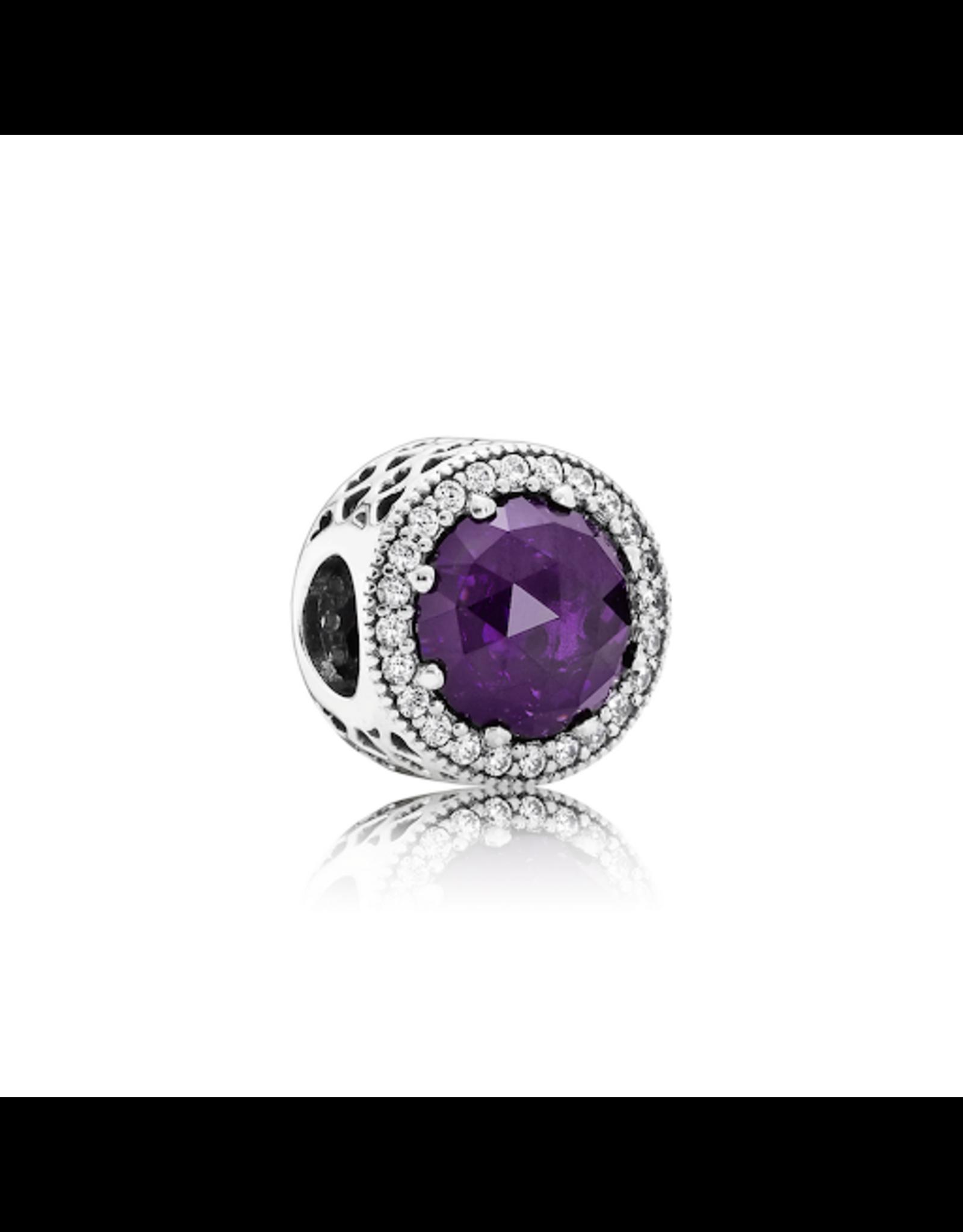 Pandora Pandora Charm Radiant Hearts, Royal Purple Crystal & Clear CZ