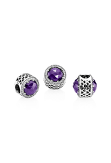 Pandora Pandora Charm Radiant Hearts, Royal Purple Crystal & Clear CZ