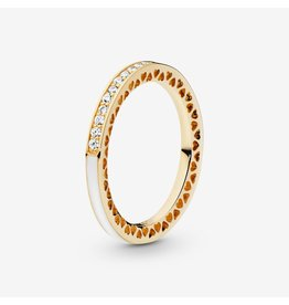 Pandora Pandora Ring 52, 14K Gold, Radiant Hearts Of Pandora, Silver Enamel & Clear CZ