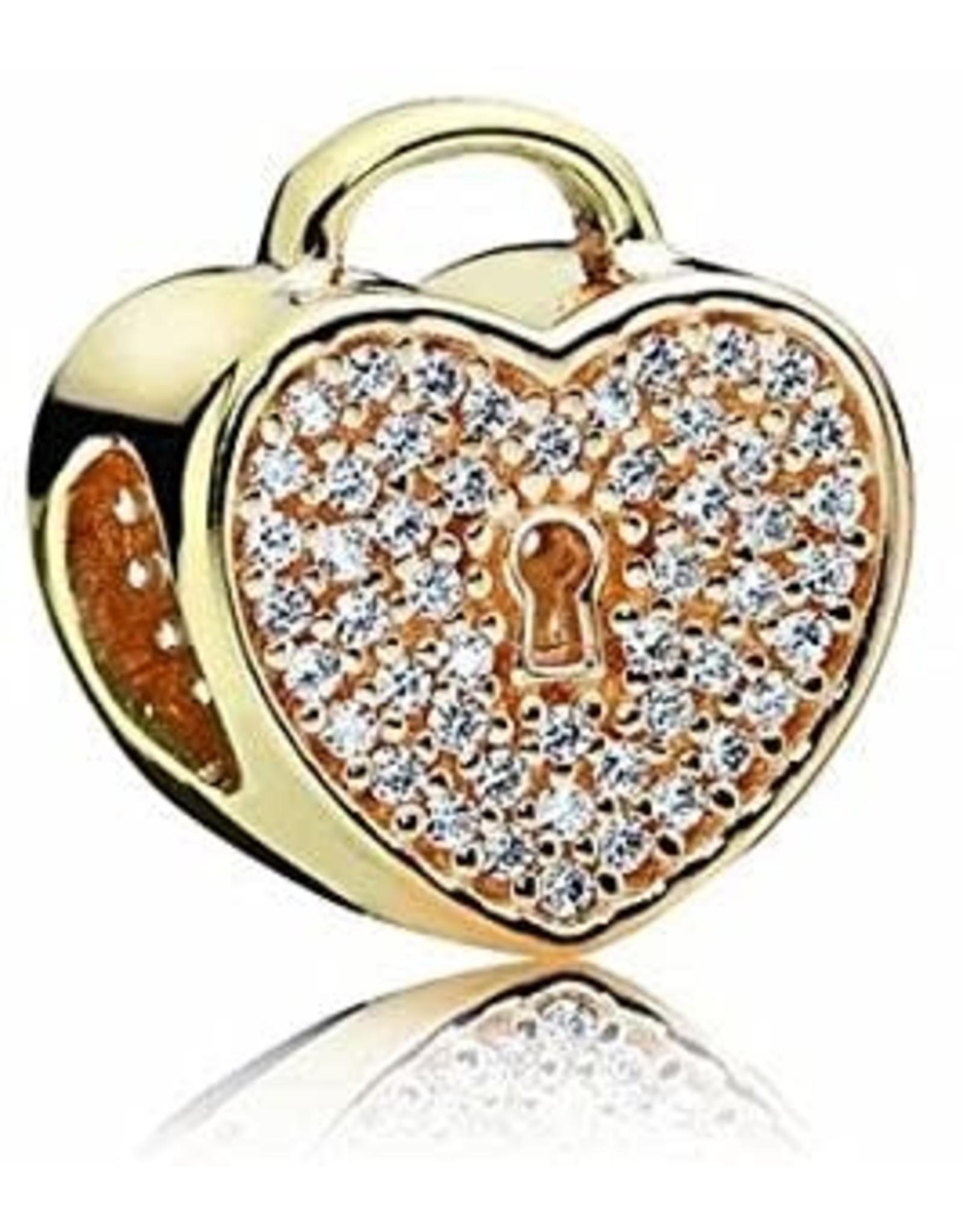 Pandora Pandora Charm, 14K Gold, Heart Lock, Clear CZ