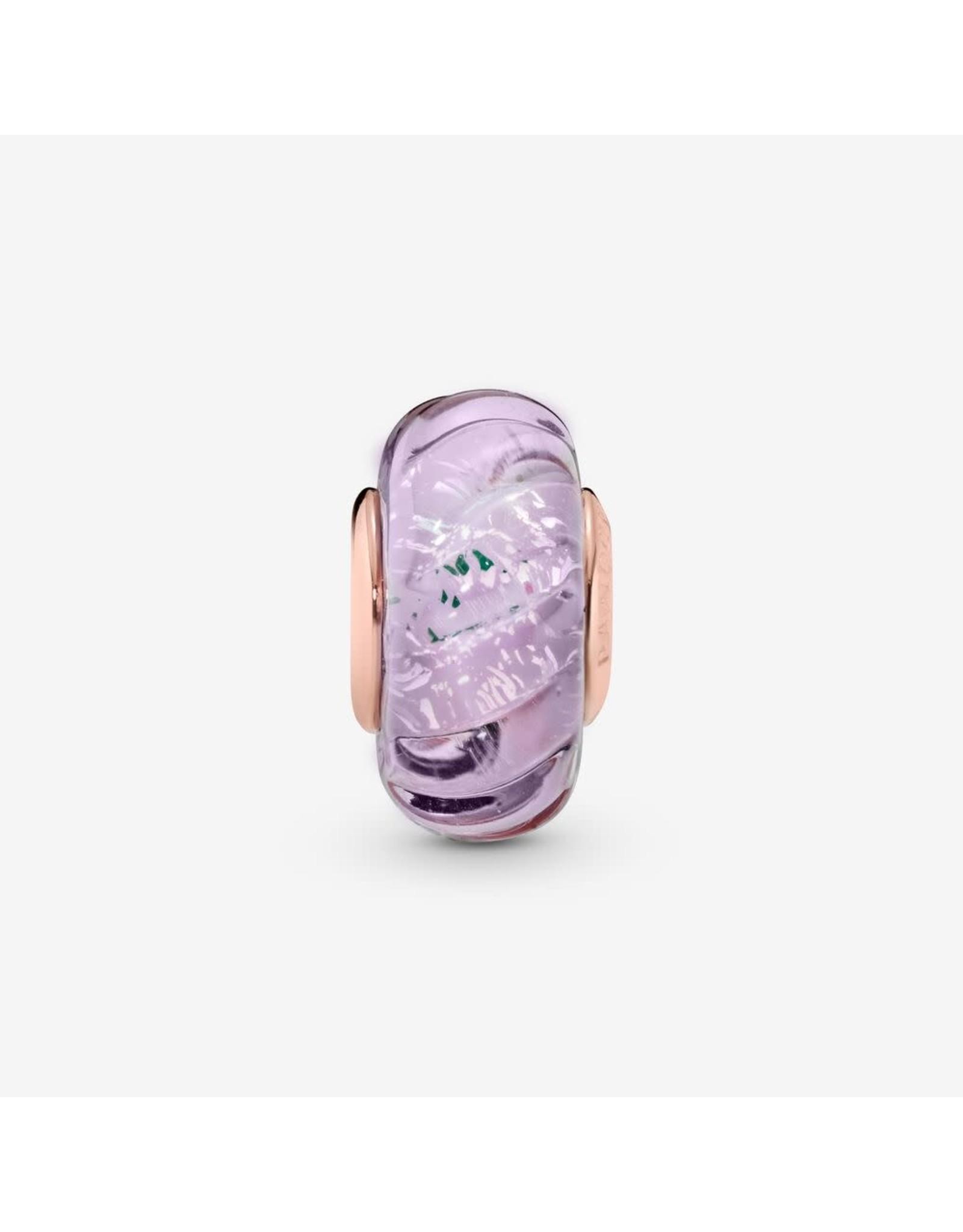 Pandora Pandora Charm Glittering Grooves Pink & Purple Murano Glass