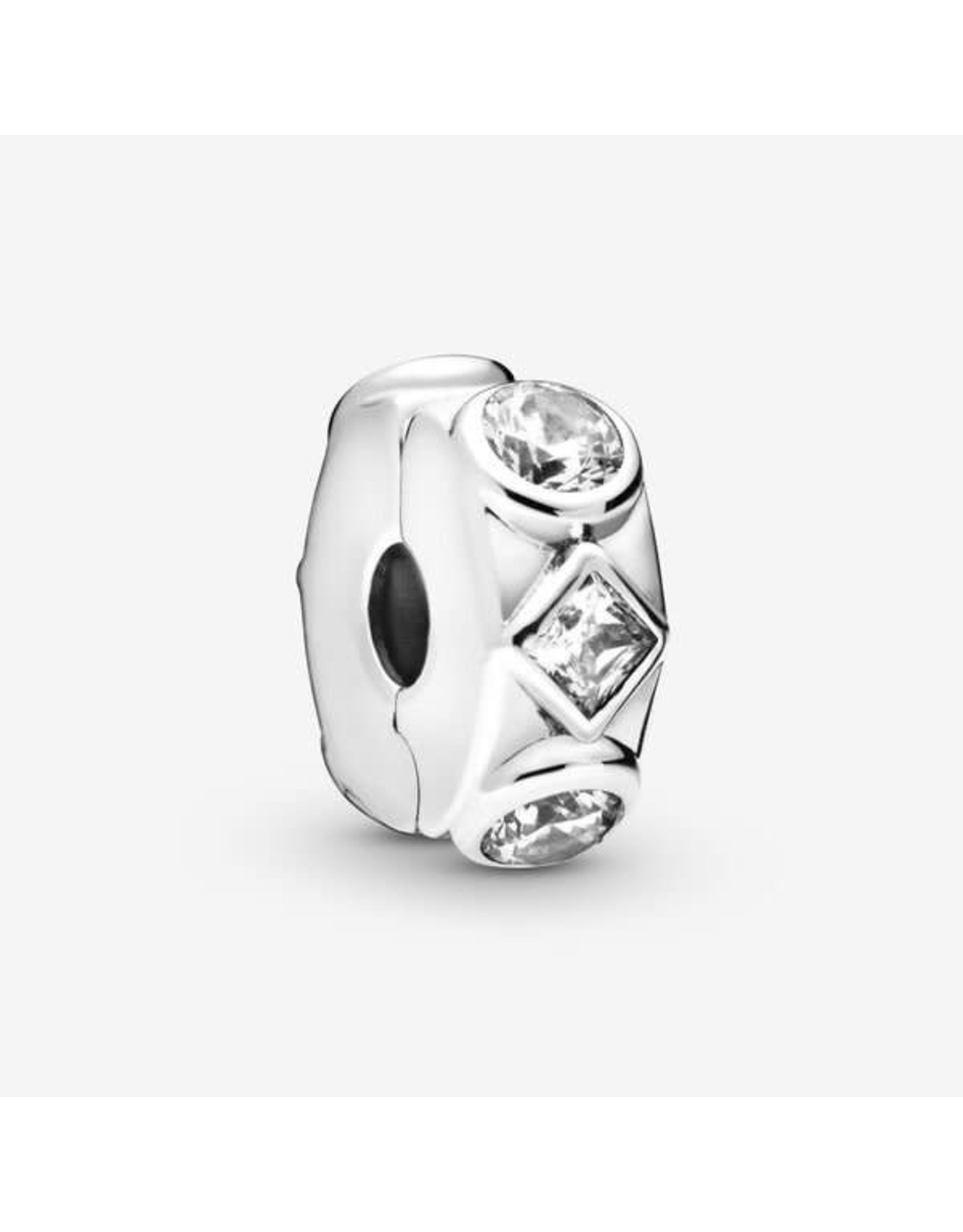 Pandora Pandora Clip, Geometric Shapes, Clear CZ