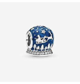 Pandora Pandora Charm Christmas Snow Globe,Clear CZ, Shimmering Midnight Blue Enamel