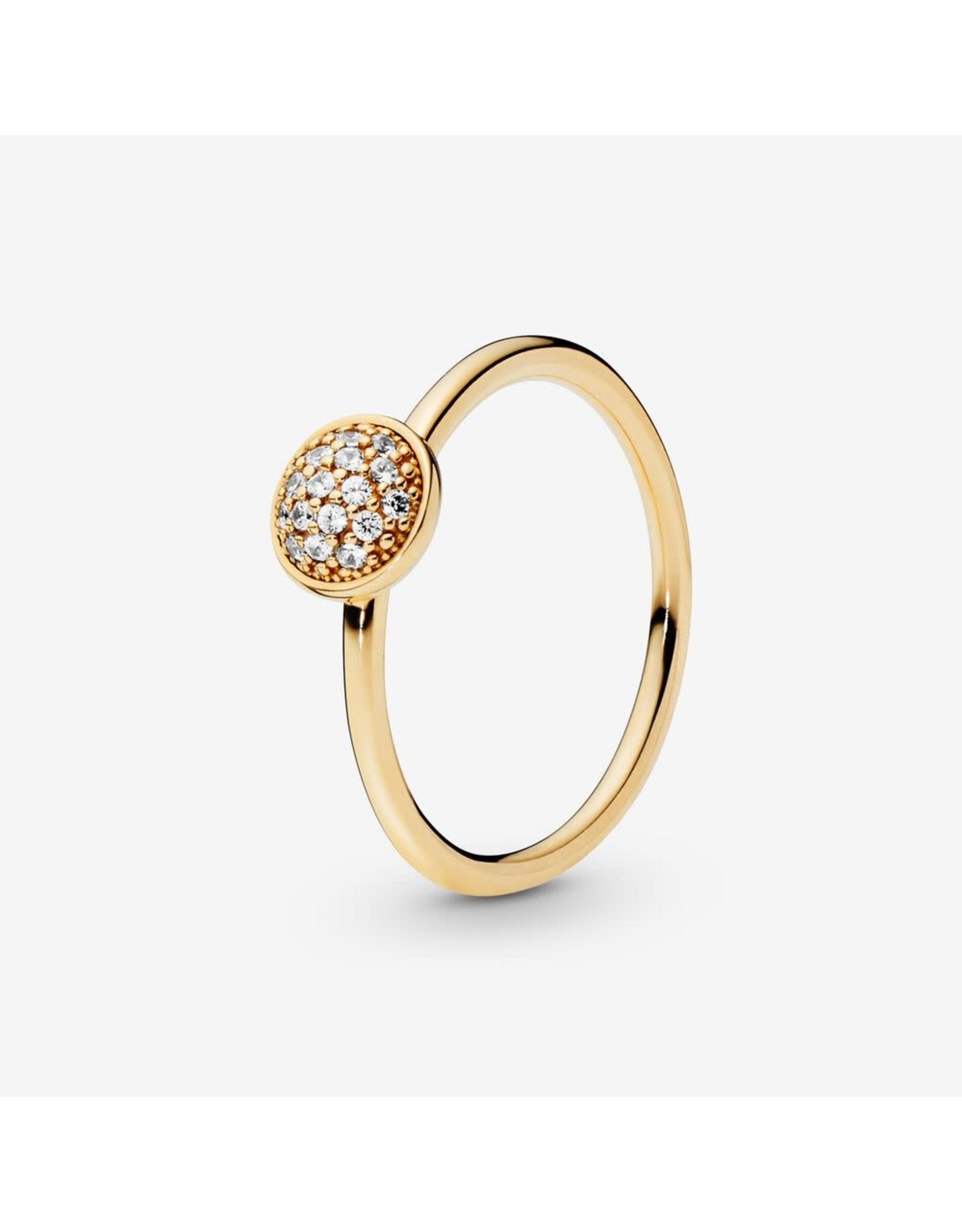 Pandora Pandora Ring 54, 14K Gold,Dazzling Droplet, Clear CZ