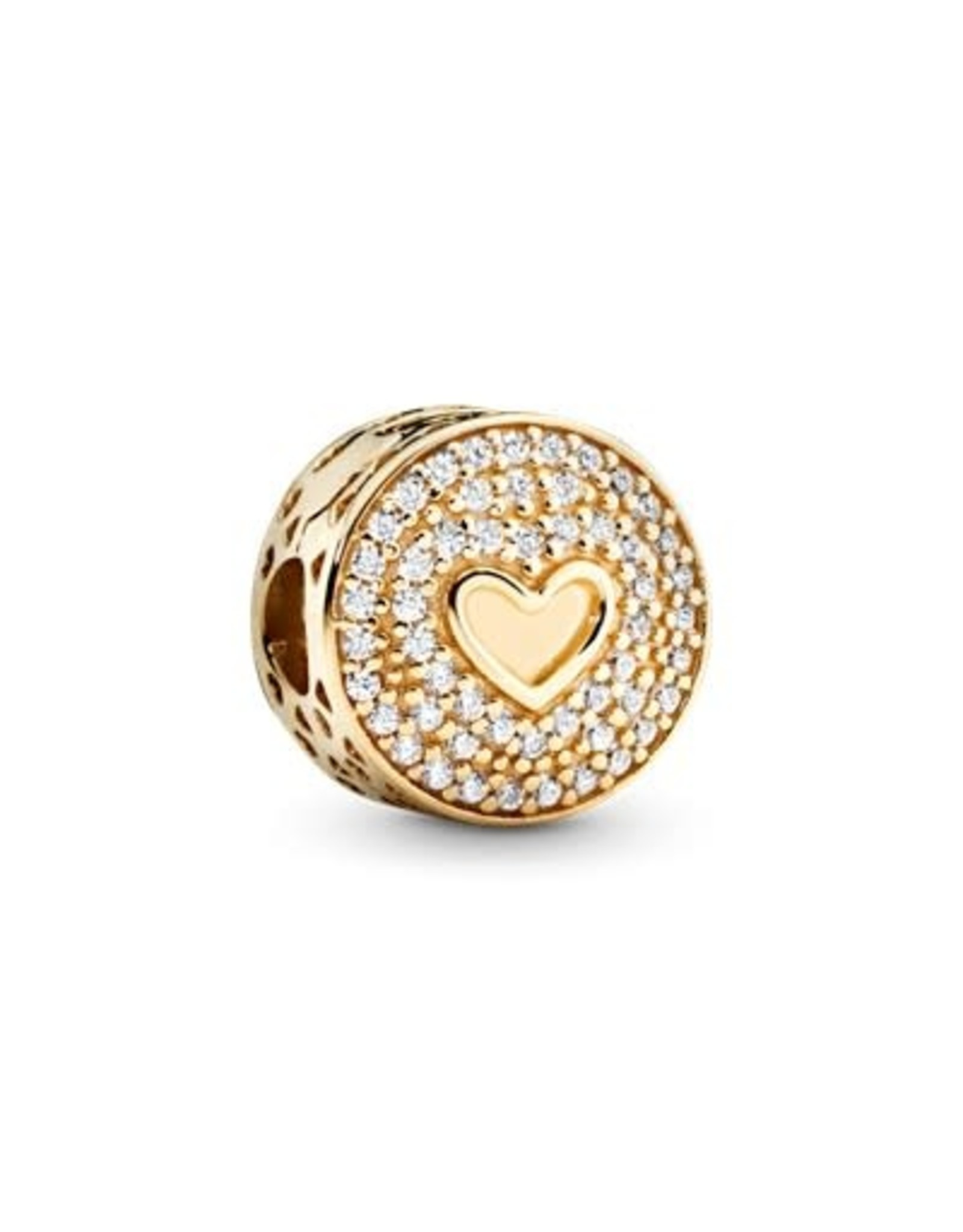 Pandora Pandora Heart Of Luxury, Clip, Clear CZ ,14K Gold