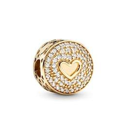 Pandora Pandora Heart Of Luxury, Clip, Clear CZ ,14K Gold