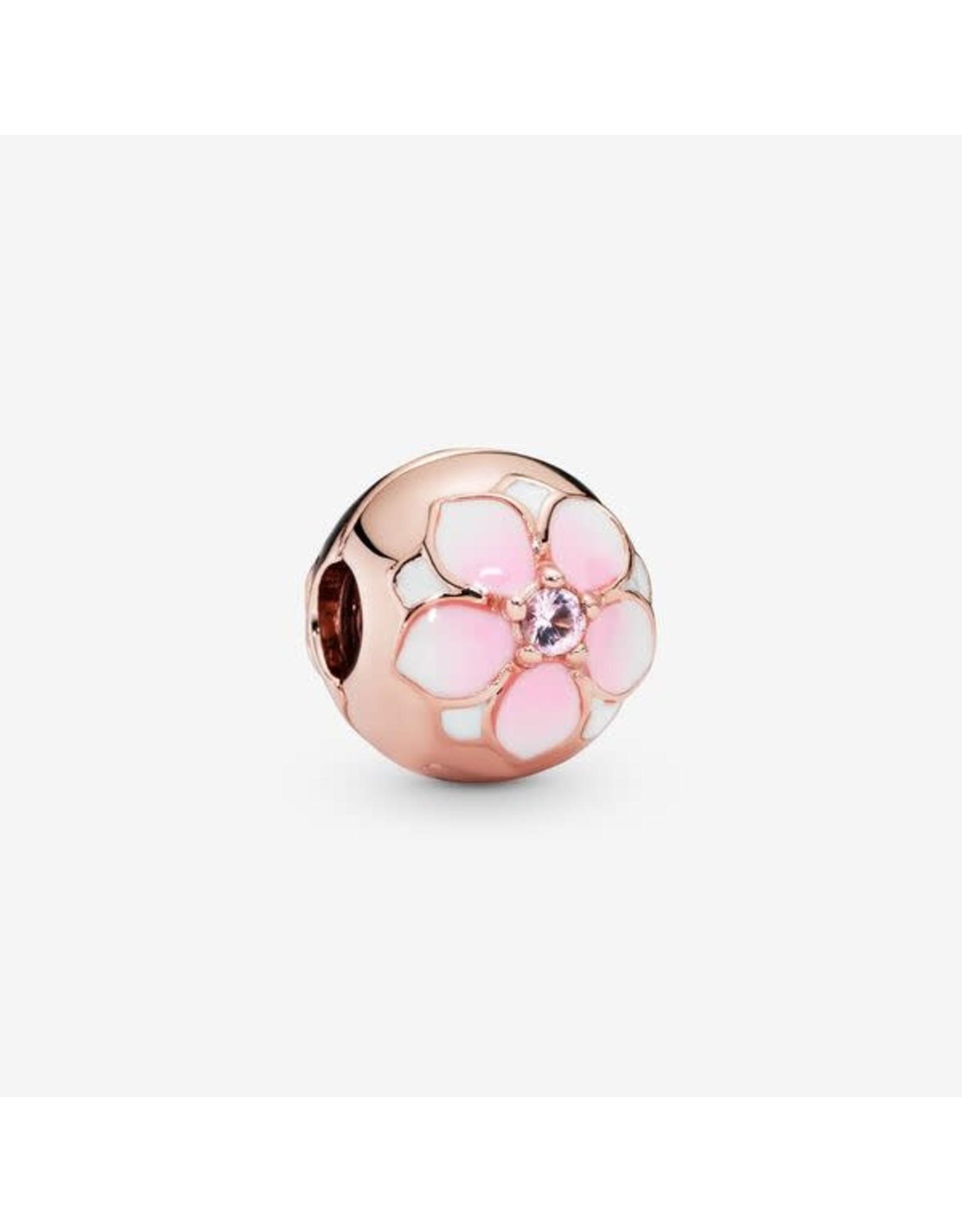 Pandora Pandora Clip, Rose Gold Magnolia, Blush Pink Crystals, White & Cerise Enamel