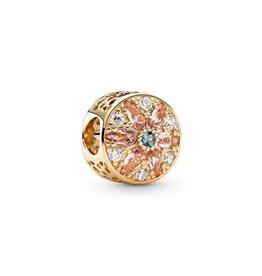 Pandora Pandora Charm, 14K Gold, Opulent Floral, Multi-Colored Crystals & Clear CZ