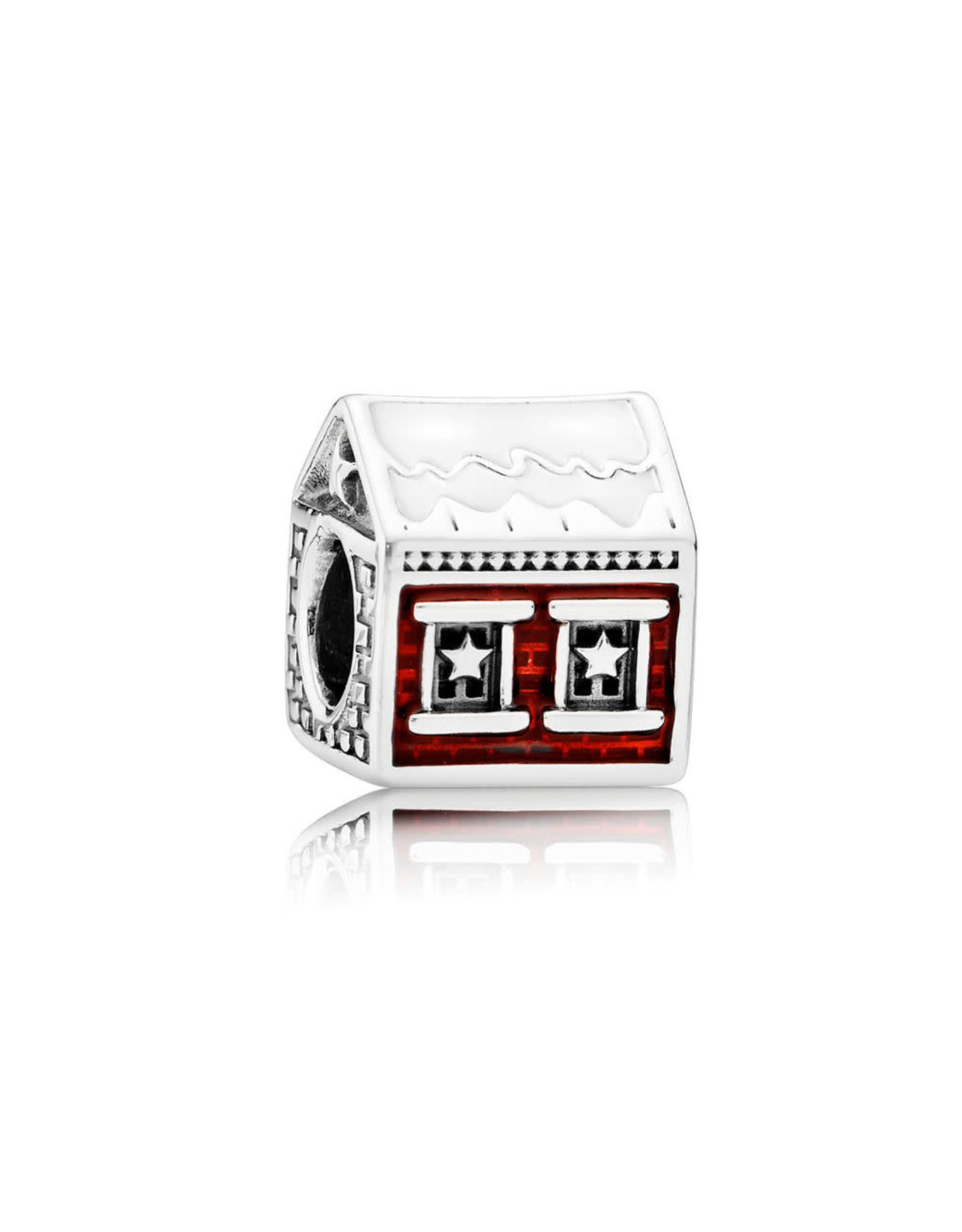 Pandora Pandora Charm Santa's Home, White & Translucent Red Enamel