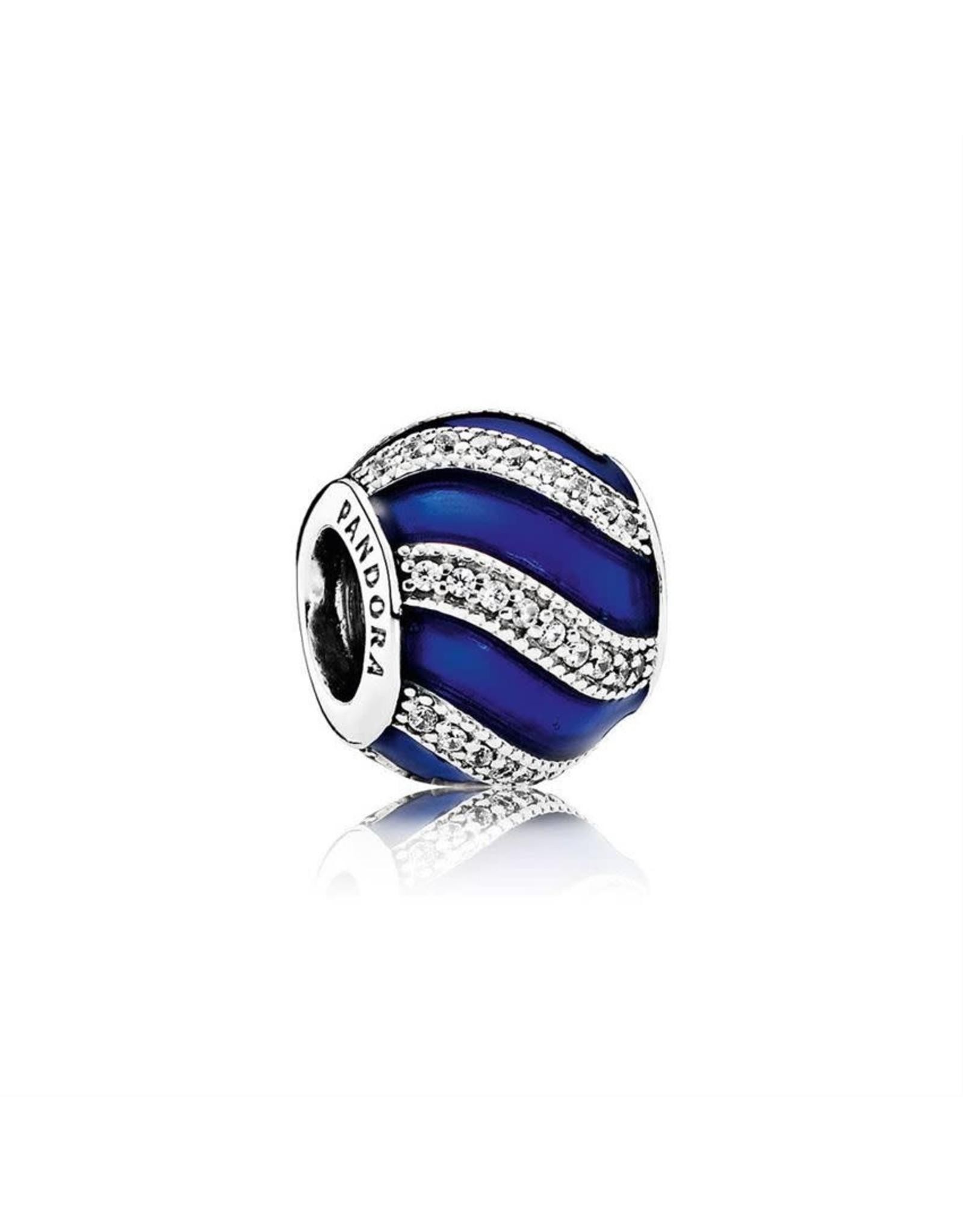 Pandora Pandora Charm Adornment, Transparent Royal Blue Enamel & Clear CZ