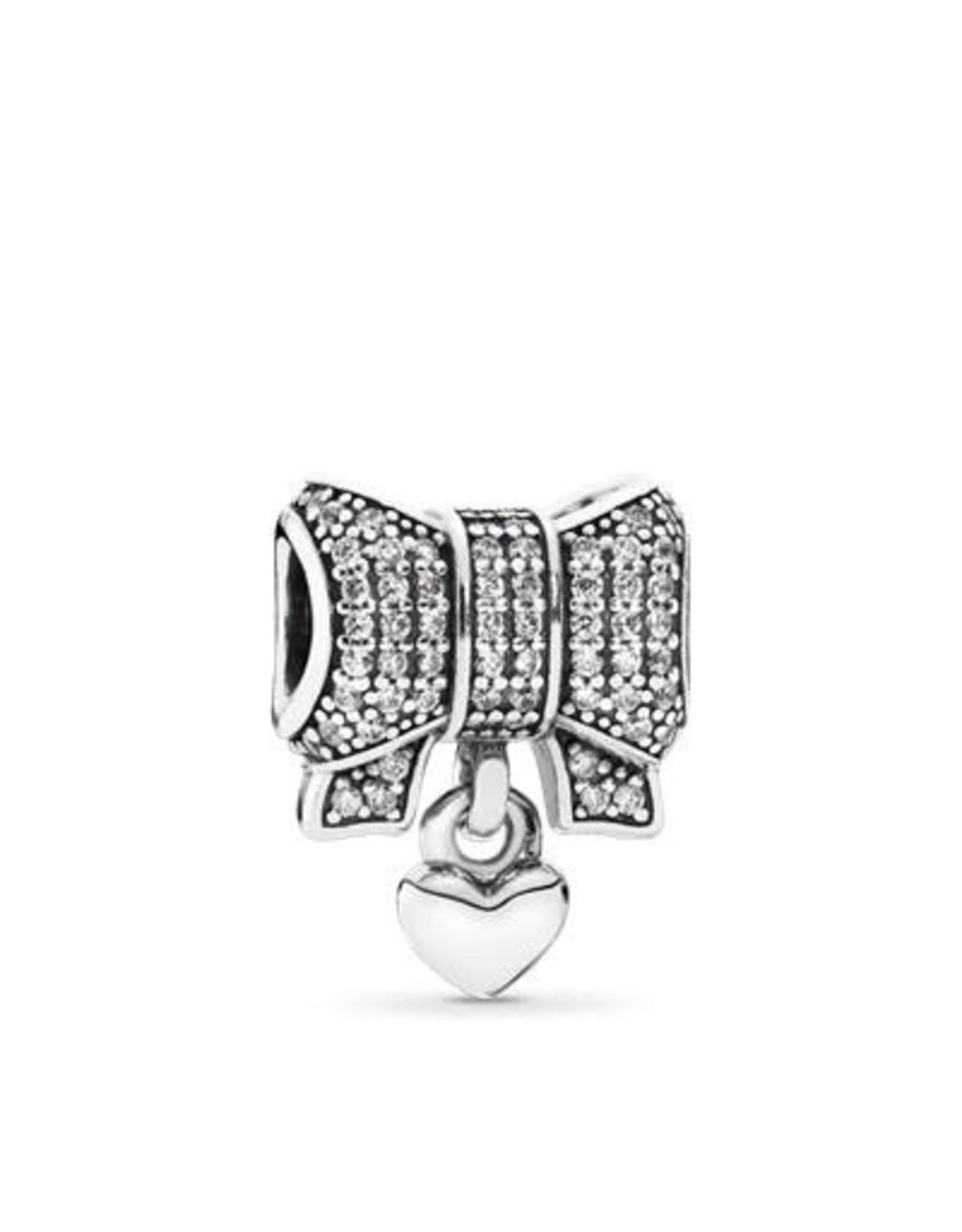 Pandora Pandora Charm, Sparkling Bow, Silver Heart