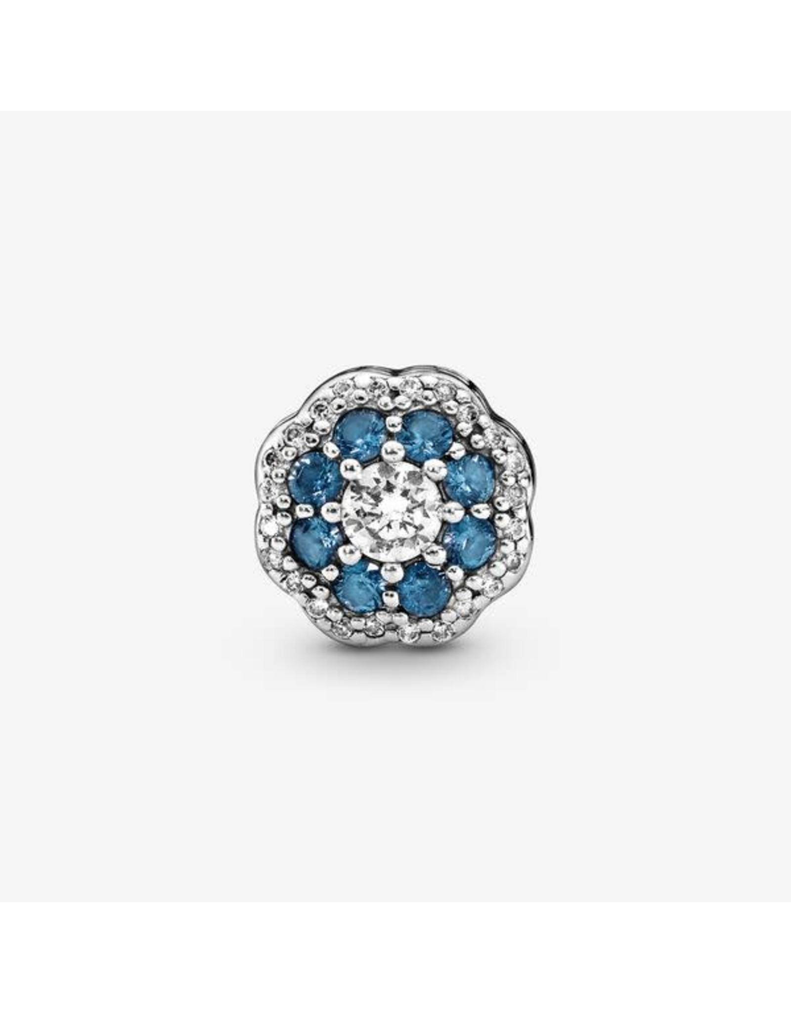Pandora Pandora Blue Sparkle Flower, Moonlight Blue Crystals & Clear CZ