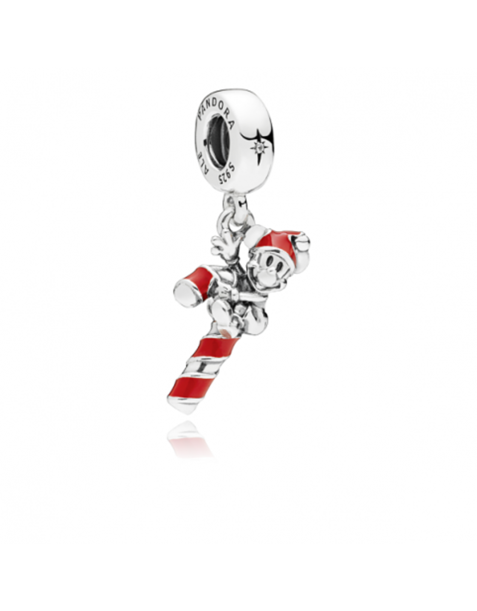 Pandora Pandora Charm Disney Mickey Candy Cane Dangle In Sterling Silver With Red Enamel