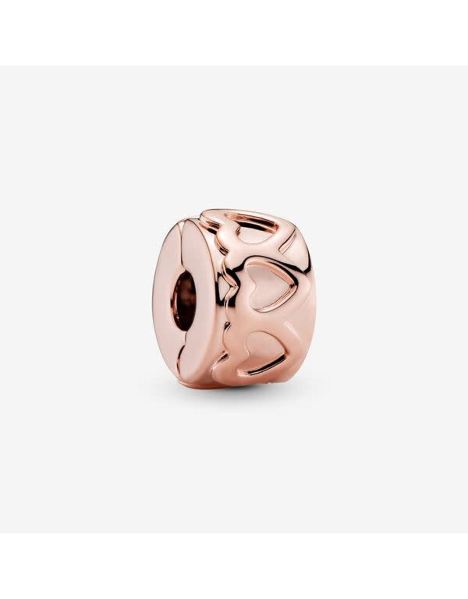 Pandora Pandora Clip,781978, Rose Gold, Row Of Hearts