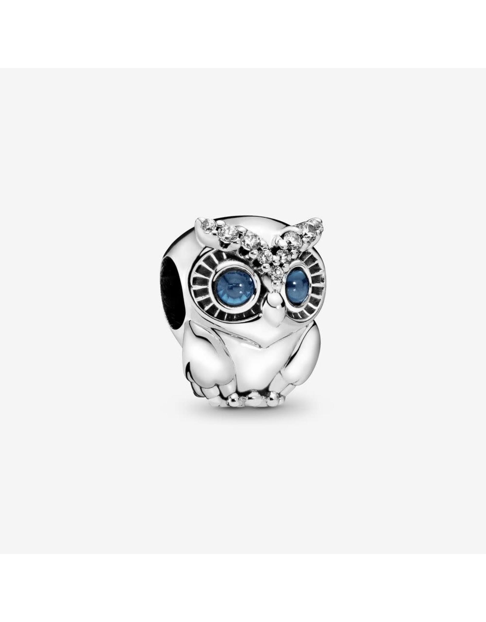 Pandora Pandora Charm, Sparkling Owl, Blue Crystals & Clear CZ