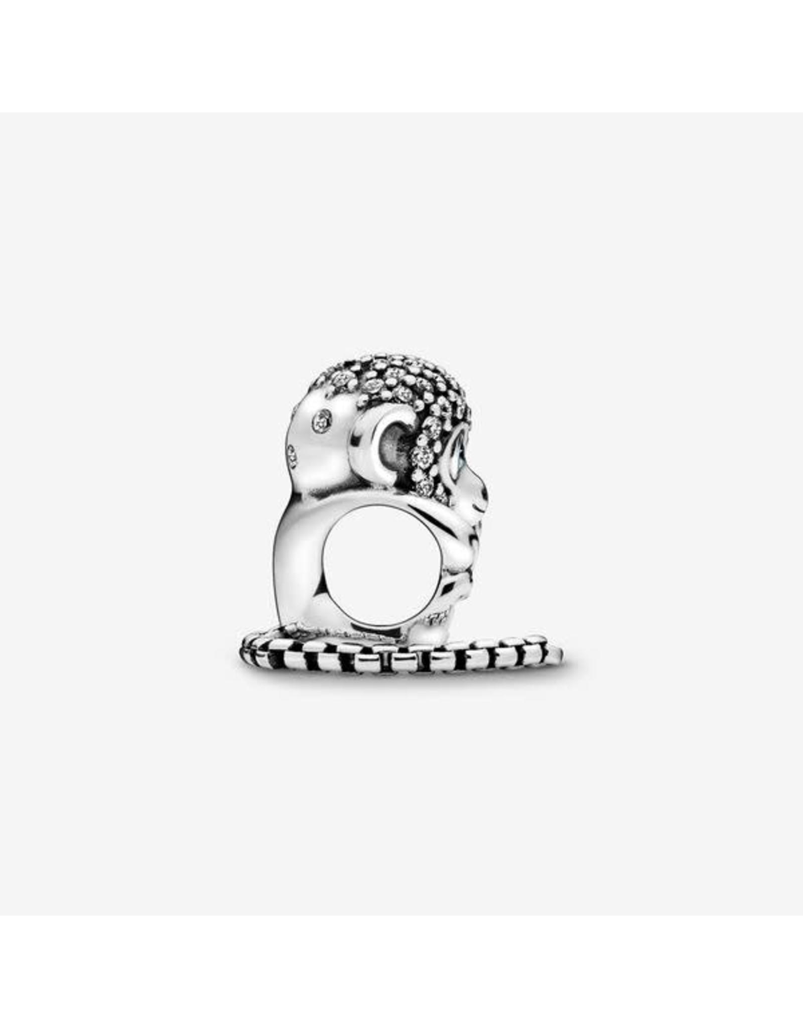 Pandora Pandora Charm, Sparkling Monkey, Clear & Teal CZ