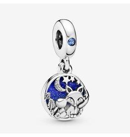 Pandora Pandora Charm, 798239NMB, Fox & Rabbit, Mixed Enamel, Blue Crystal & Clear CZ
