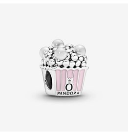 Pandora Pandora Charm,Delicious Popcorn,Pink Enamel & White Crystal Pearls
