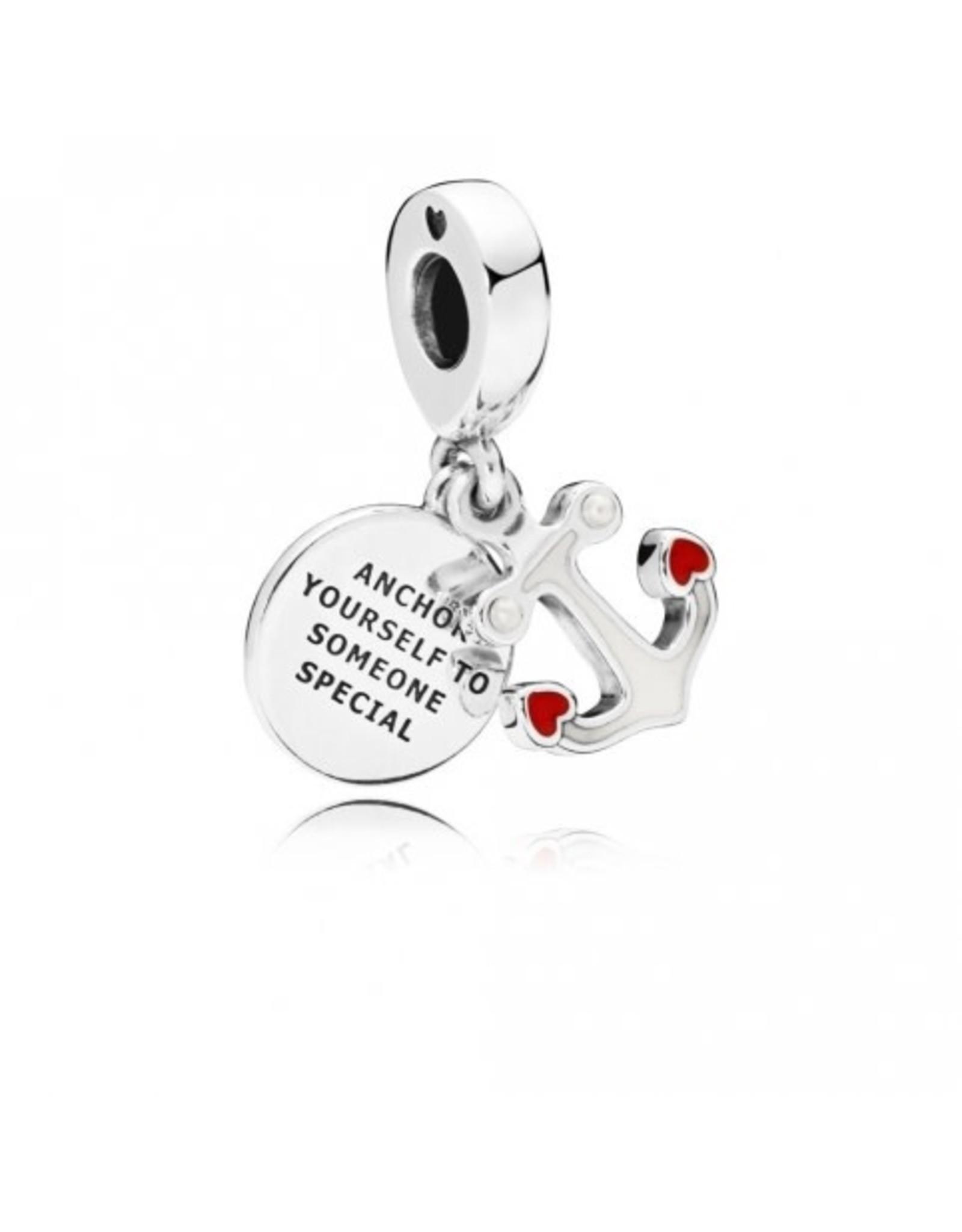Pandora Pandora Charm, Anchor Of Love, Mixed Enamel & White Crystal Pearls