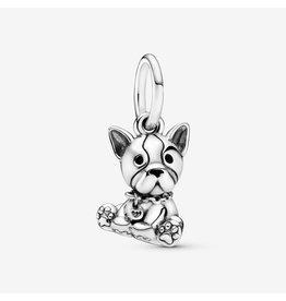 Pandora Pandora Charm,Bulldog Puppy, Black Enamel