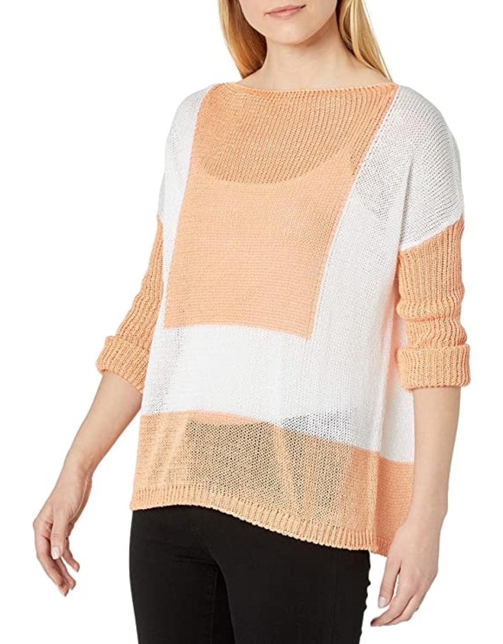 M Made In Italy White/Orange Crochet Sweater