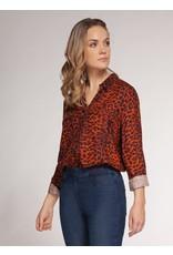 Dex Orange/Black Leopard Print Blouse