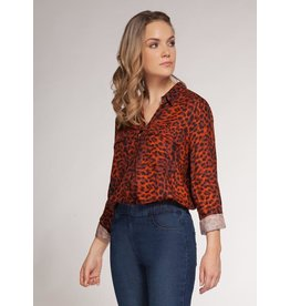Dex Orange/Black Leopard Print Blouse