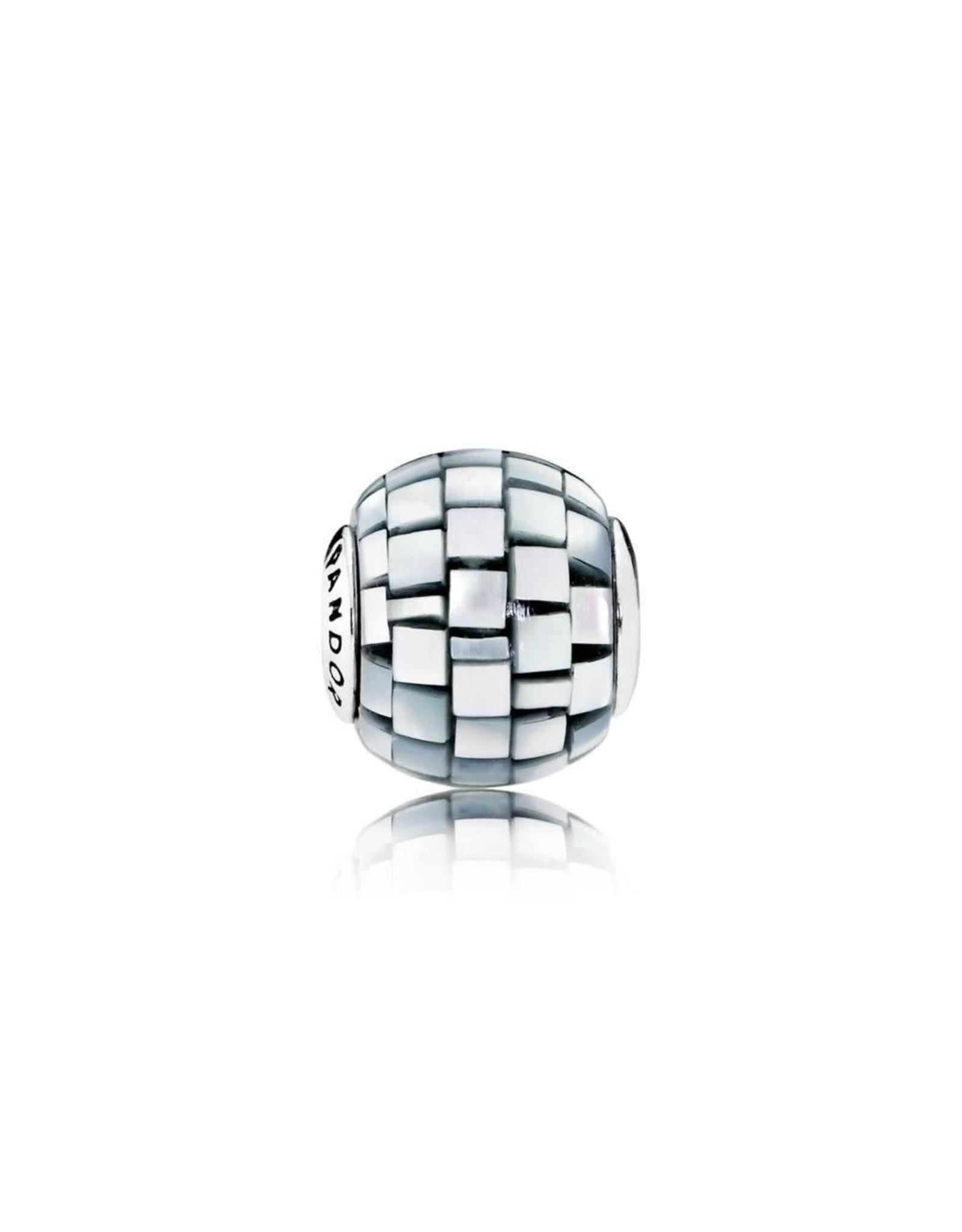 Pandora Pandora Essence Charm, Balance, Blue-Grey, Mother Of Pearl Mosaic