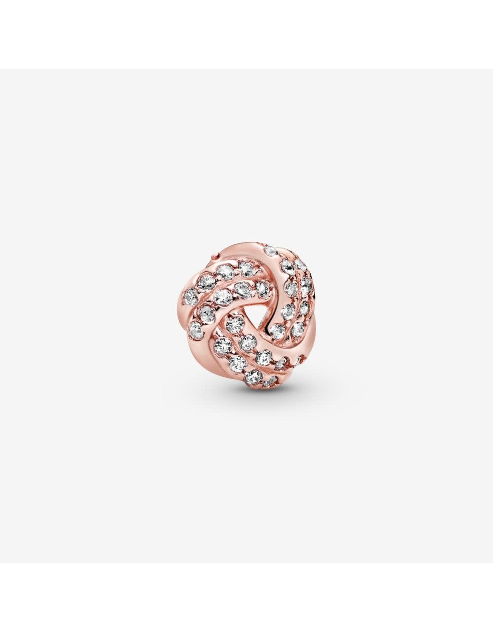 Pandora Pandora Petite Charm, Rose Gold, Sparkling Love Knot, Clear CZ