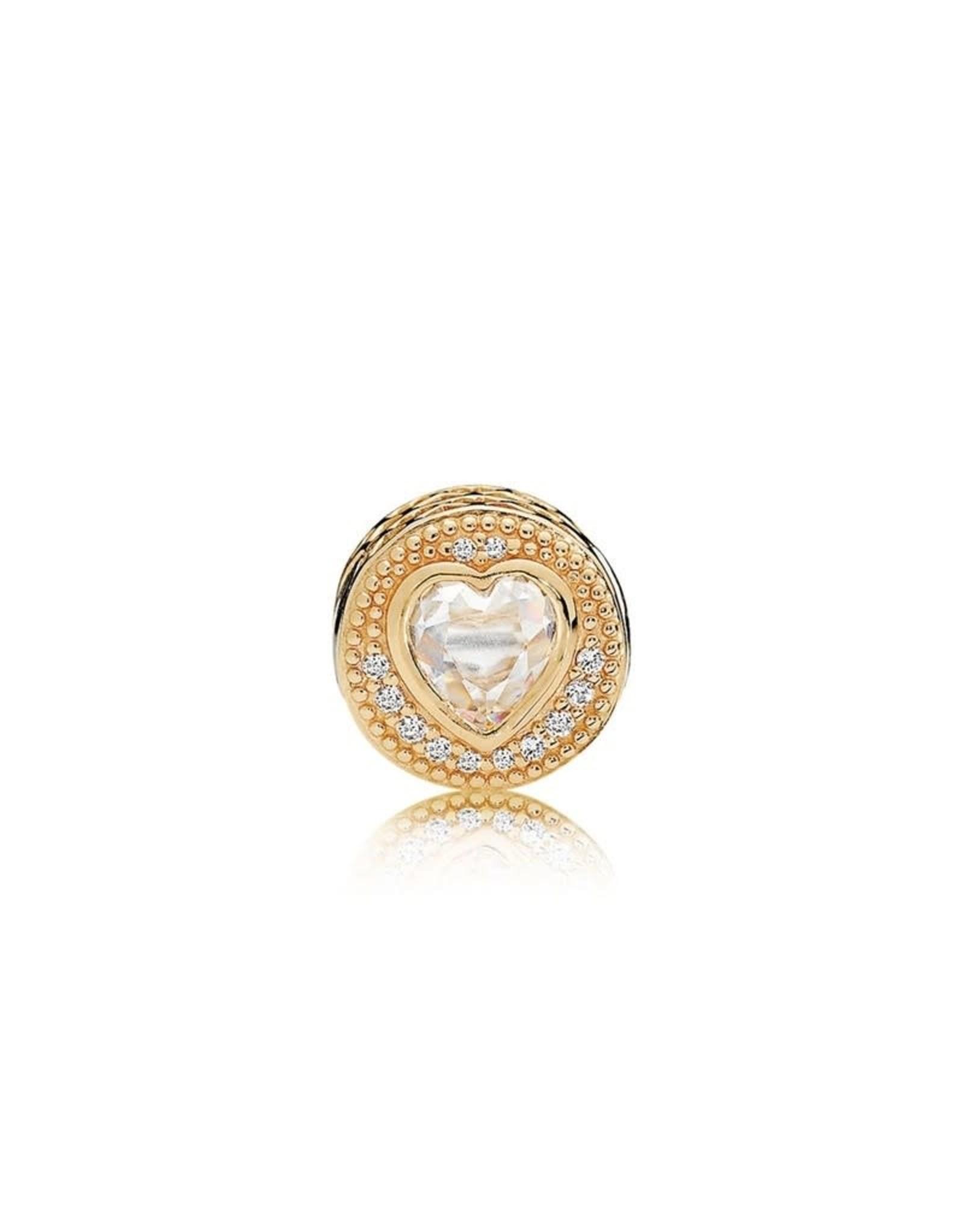 Pandora Pandora Essence Charm, 14K Gold, Heart,Clear CZ