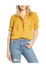 Bishop + Young Swiss Dot Peasant Blouse Yellow