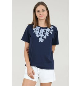 Molly Bracken Navy Knitted Tee-Shirt With Flowers