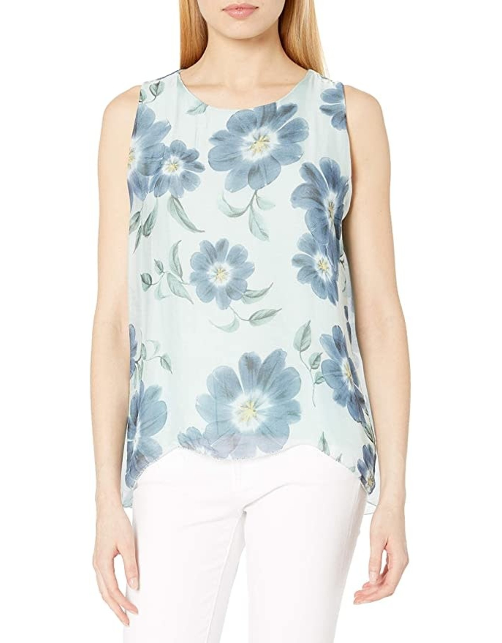 M Made In Italy Mint Floral Sleevless Top