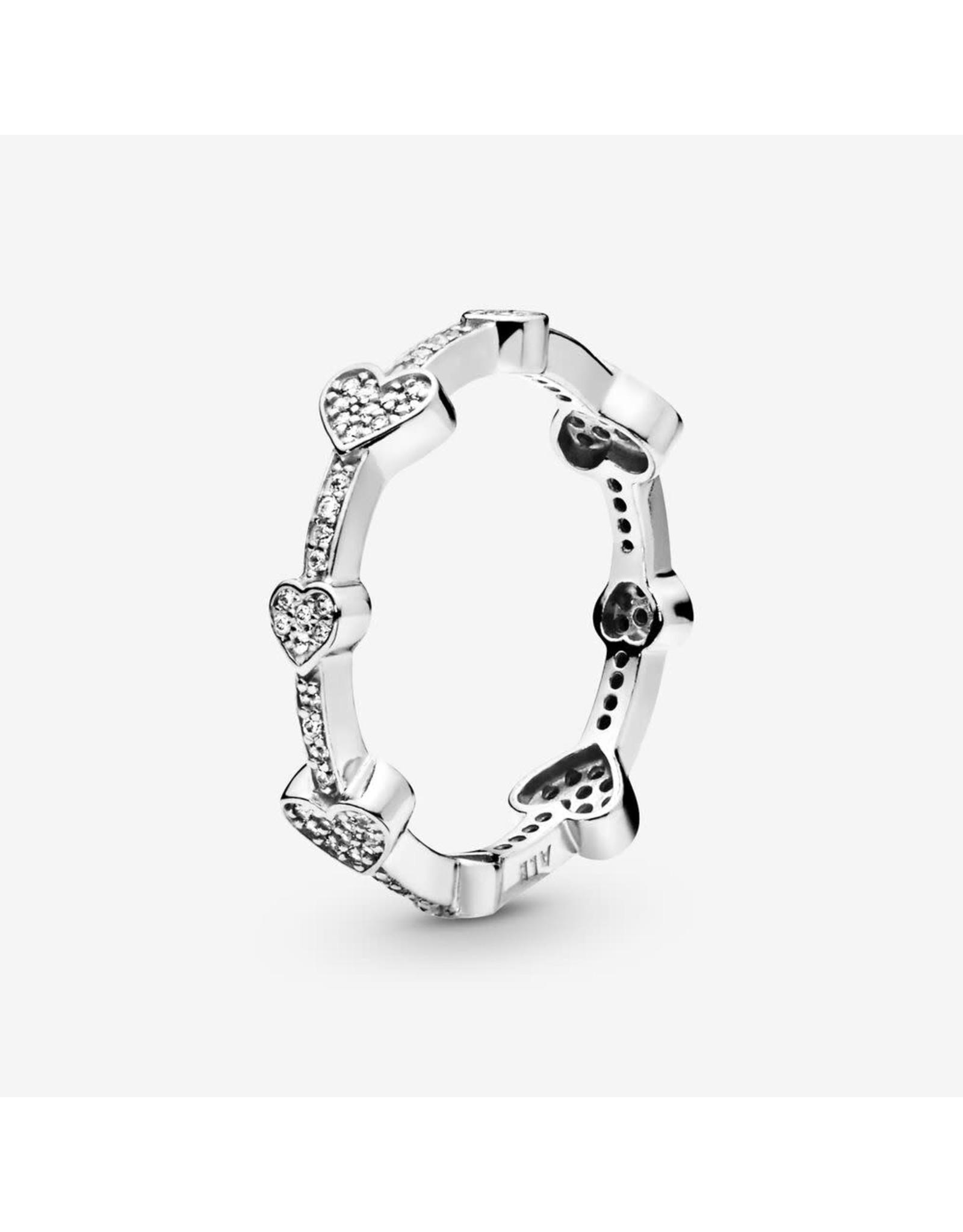 Pandora Pandora Ring, ( 197729CZ) Alluring Hearts, Clear CZ